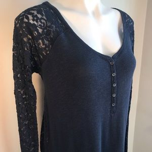 Abercrombie & Fitch Navy Long Sleeved Lace Top